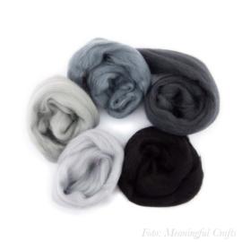 Europese Merino Lontwol - Kleurenset 10 - Grijs/Zwart