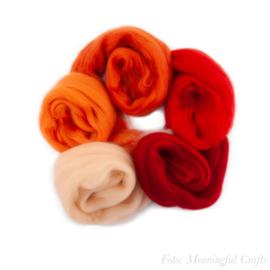 Europese Merino Lontwol - Kleurenset 2 - Rood/Oranje