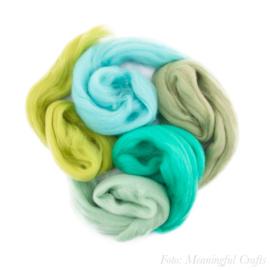 Europese Merino Lontwol - Kleurenset 6 - Aqua/Groen