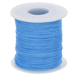 Glanskoord, Lichtblauw, 1mm dik, per meter.