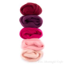 Europese Merino Lontwol - Kleurenset 3 - Donker Rood/Roze