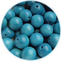 Houten kraal 16mm, Azuurblauw. 5 stuks