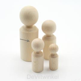 Houten kegelpoppetje - recht - 47x16 mm