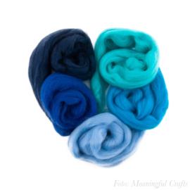 Europese Merino Lontwol - Kleurenset 5 - Blauw/Aqua