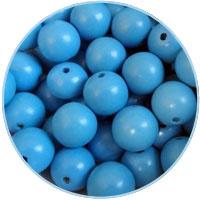 Houten kraal 16mm, Lichtblauw. 5 stuks