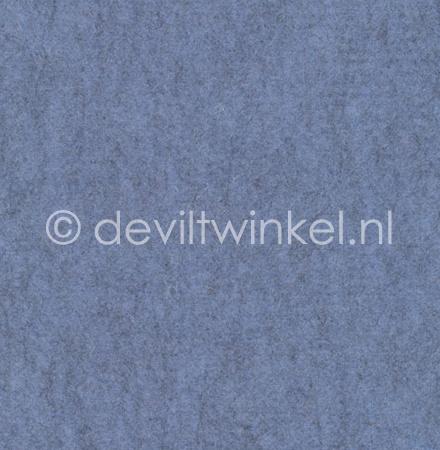 Wolvilt Gemêleerd Blauw - 90 bij 100 cm.