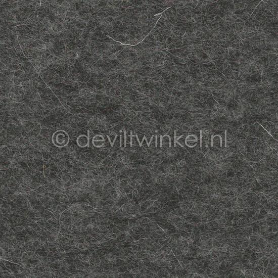 Wolvilt 3 mm, Donker Grijs Gemêleerd, 22 bij 30 cm