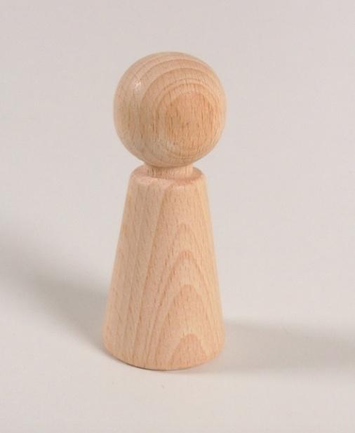 Houten kegelpoppetje - taps - 70x30 mm