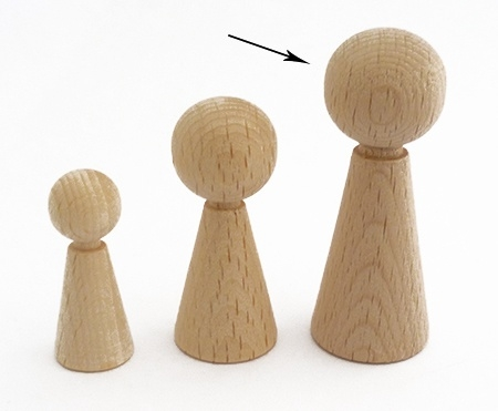 Houten kegelpoppetje - taps - 60x23 mm