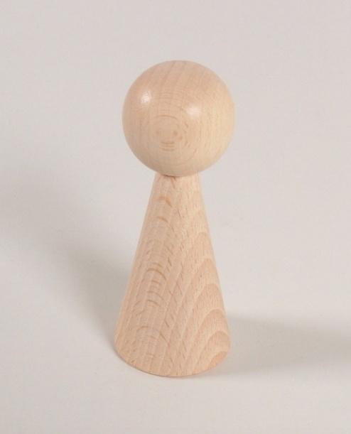 Houten kegelpoppetje - taps - 100x43 mm