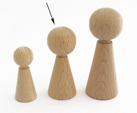 Houten kegelpoppetje - taps -  50x20 mm