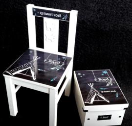 Set stoel en luxe bewaardoos ontwerp Tipi jongen