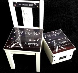 Set stoel en bewaardoos met naam ontwerp Tipi meisje