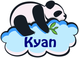 Raamsticker Panda op wolk met naam kind