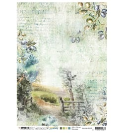 JMA Rice paper Country road, olive branches New Awakening nr.09