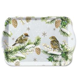 Tray Sparrows In Snow