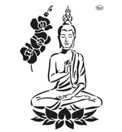 Stencil Buddah & Orchidee