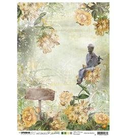 JMA Rice paper Figure w. flute, flowers, sign New Awakening nr.03