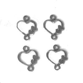 Bedels mini hartjes metaal zilver 13x10mm (4 stuks)