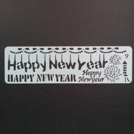 Kunststof flexibel sjabloon happy new year 20x5.5c