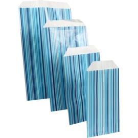 LOVLY® Zak, Fourniturenzak, papier, 12x19cm, Strepen, blauw 10 stuks
