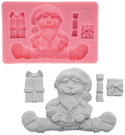 silicone mold, Santa Claus+Gifts