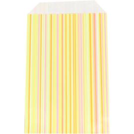 Fournituren zakjes geel / oranje strepen