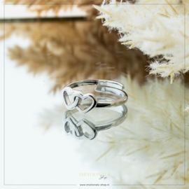 Imotionals One Size Ring Double Love Zilver