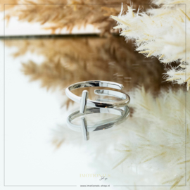 Imotionals One Size Letter Ring I Zilver