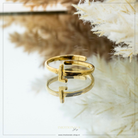 Imotionals One Size Letter Ring L Goudkleurig
