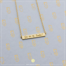 Ibiza Plates Ketting 'You are my number 1' Goudkleurig