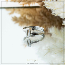 Imotionals One Size Letter Ring O Zilver