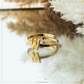 Imotionals One Size Letter Ring W Goudkleurig
