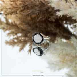 Imotionals Vintage Ring Black Stones Zilver