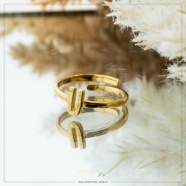 Imotionals One Size Letter Ring U Goudkleurig