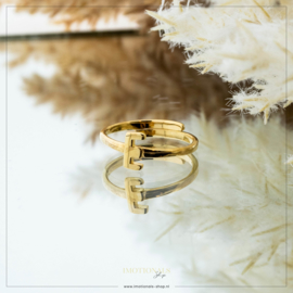 Imotionals One Size Letter Ring E Goudkleurig