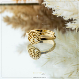 Imotionals One Size Ring Tree Of Life Goudkleurig