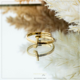 Imotionals One Size Letter Ring J Goudkleurig