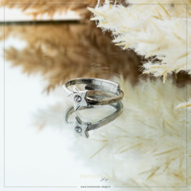Imotionals One Size Ring Ster Met 1 Steentje Zilver