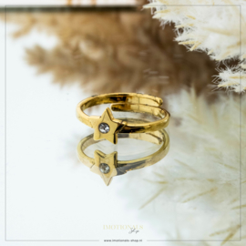 Imotionals One Size Ring Ster Met 1 Steentje Goudkleurig