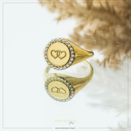 Imotionals Vintage Hearts Ring Goudkleurig