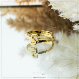 Imotionals One Size Letter Ring S Goudkleurig