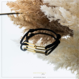 Imotionals Sik Cord Armband Double Chain Goudkleurig
