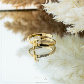 Imotionals One Size Letter Ring F Goudkleurig