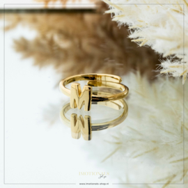 Imotionals One Size Letter Ring M Goudkleurig