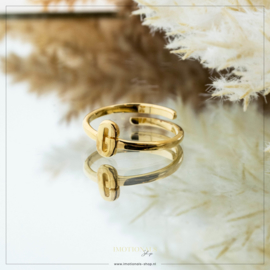 Imotionals One Size Letter Ring G Goudkleurig