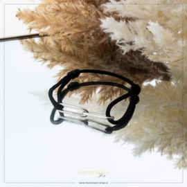 Imotionals Sik Cord Armband Double Chain Zilverkleurig