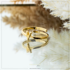 Imotionals One Size Letter Ring Y Goudkleurig