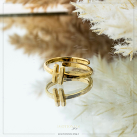 Imotionals One Size Letter Ring H Goudkleurig