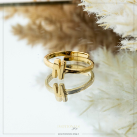 Imotionals One Size Letter Ring N Goudkleurig